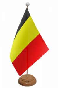 Belgium Desk / Table Flag with wooden stand and base